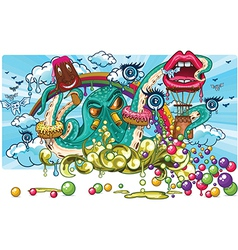 Octopus candy fantasy vector
