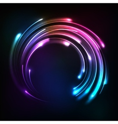 Shining rainbow neon lights circle frame vector