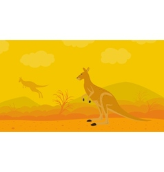 Kangaroo on the nature vector