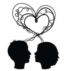 Abstract silhouette of couple heads love concept vector