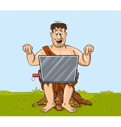 Happy primitive man is working with the laptop vector