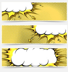 Pop-art comic book style web flyer layout vector