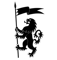 Heraldic lion with flag vector