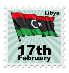 Post stamp of national day of libya vector