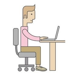 Businessman working on computer vector