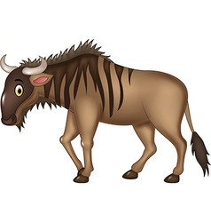 Cartoon adorable wildebeest isolated vector