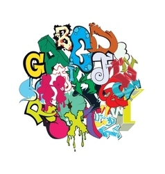 Graffiti font color composition vector