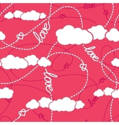 Hearts clouds love seamless pattern vector