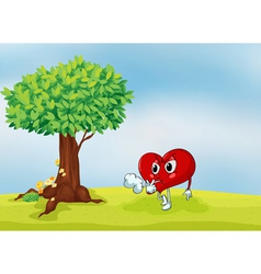 a heart and a tree vector image vector image