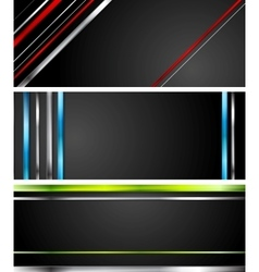Abstract black tech banners with stripes vector