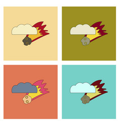 Assembly flat icons falling meteorite vector