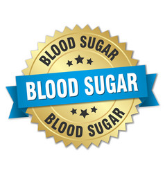Blood sugar round isolated gold badge vector