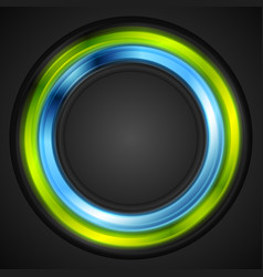 Blue and green glowing circle logo vector