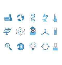 Blue color science icons set vector