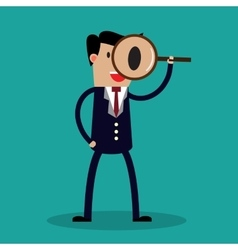 Businessman looking through a magnifying glass vector