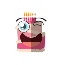 Cartoon cake candle sweet wink vector