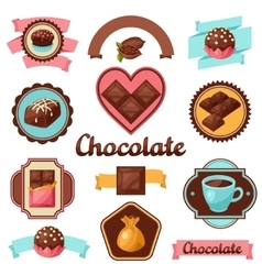 Chocolate set of badges and labels with various vector image vector image