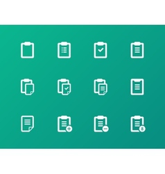 Clipboard icons on green background vector image