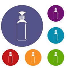 Closed vial icons set vector