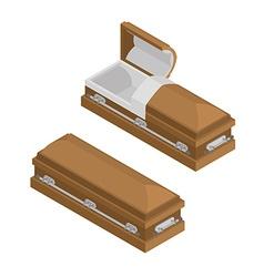 Coffin isometrics wooden casket for burial open vector