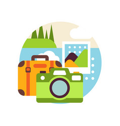 Creative landscape with suitcase and camera in vector
