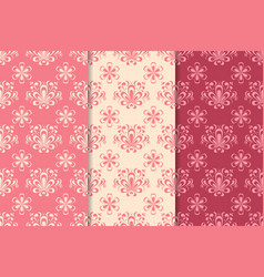 Floral seamless pattern red set vector
