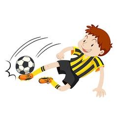 Football player kicking ball vector image vector image