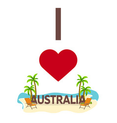 i love australia travel palm summer lounge vector image