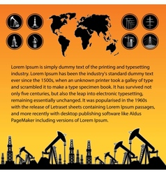 Map and oil rig vector image