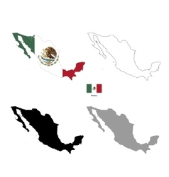 Mexico country black silhouette and with flag on vector image vector image