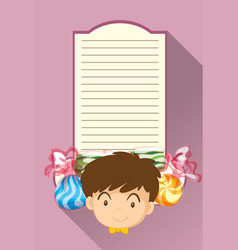 paper template with boy and candy vector image vector image