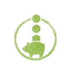 Piggy bank money icon with hand drawn lines vector