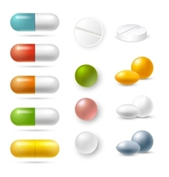 Pills Icons Set vector image vector image