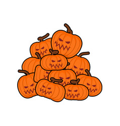 pumpkins pile for halloween lot of vegetables for vector image vector image