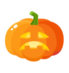 sad frustrated pumpkin jack-o-lantern cartoon vector image