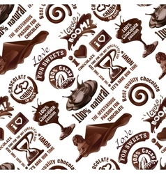 Seamless pattern of chocolate labels vector
