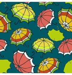 Seamless pattern with stylized colorful umbrellas vector image vector image