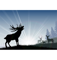 Silhouette of a family deer standing vector
