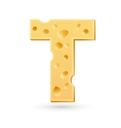 T cheese letter Symbol isolated on white vector image vector image
