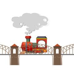 Train riding over the bridge vector image vector image