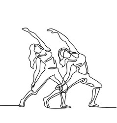 two women doing exercise in yoga pose vector image