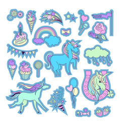 unicorn multicolor stickers with unicorn clouds vector image vector image