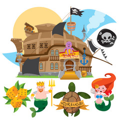 With the image of a bar in the form of a pirate vector