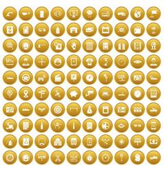 100 auto repair icons set gold vector