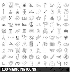100 medicine icons set outline style vector image vector image