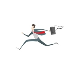 Businessman run to success on isolated background vector image
