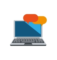 Laptop and conversation bubbles icon vector