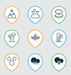 Set of 9 nature icons includes bush sprout vector