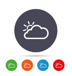 cloud and sun sign icon weather symbol vector image