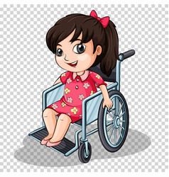 Girl on wheelchair on transparent background vector
